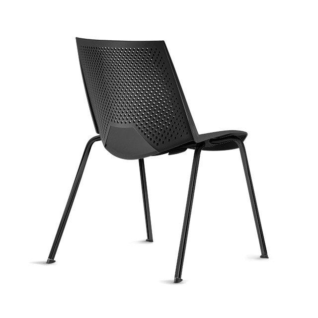 Cadeira empilável VIKA - preta/preta
