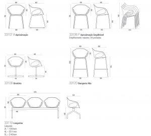 Dimensões da Cadeira Stay Cavaletti