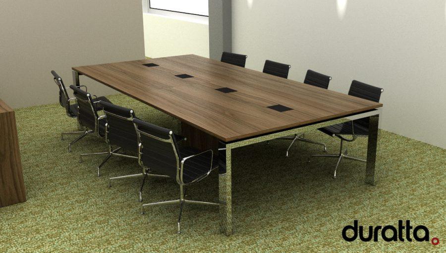 Mesa de reunião com pés cromados