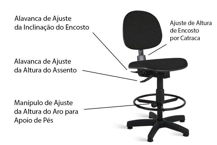 Cadeira caixa alta ergonomica - Regulagens