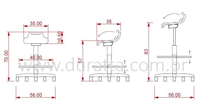 banco semi sentado dimensões e medidas