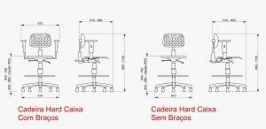 dimensões cadeira caixa industrial ergonomica