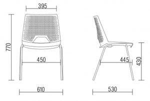 cadeira empilhável medidas