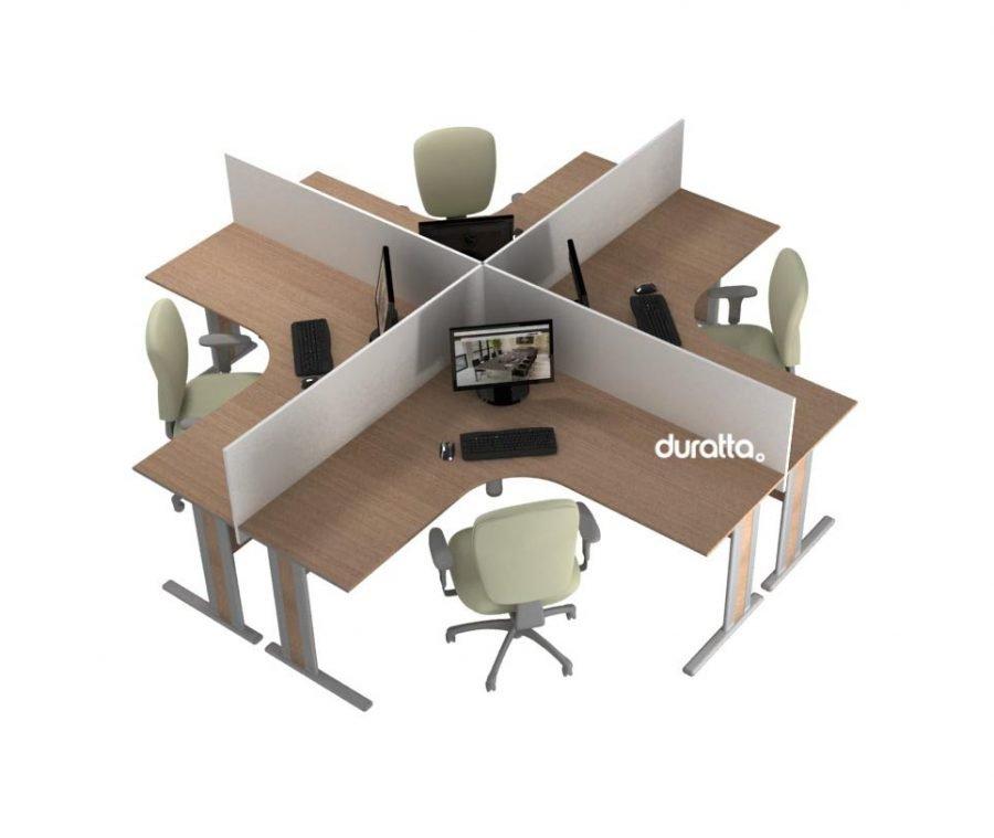 estação de trabalho ilha 4 mesas delta linha office