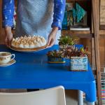 mesa para lanchonete azul