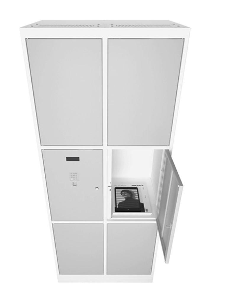 Armário biométrico 6 portas cinza