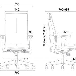 Cadeira Ergonomica Presidente LEEF dimensões