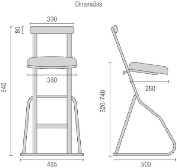 dimensões Banco Semi Sentado DRT1508