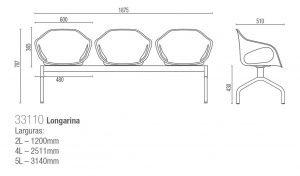 ongarina 3 lugares em polipropileno - Medidas